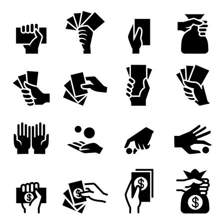 black pictogram: Hand and Money icon Illustration
