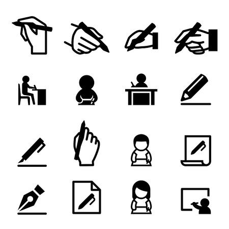 Escribiendo conjunto de iconos Ilustración de vector