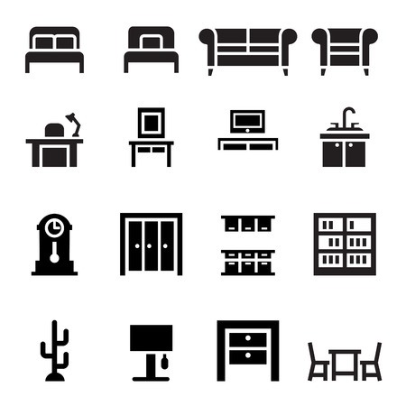 dining table: Furniture, sofa, bed, wardrobe, dining table, interior design  icon set
