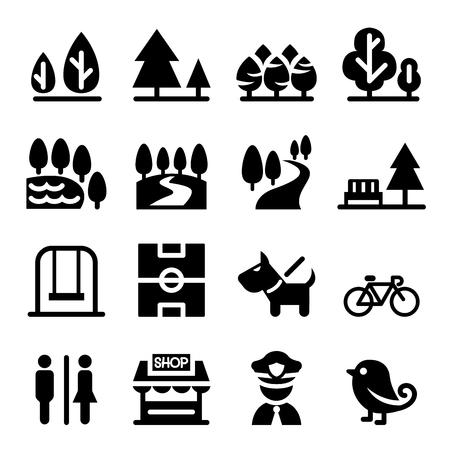 Park, public park, national park, garden icon set Ilustração