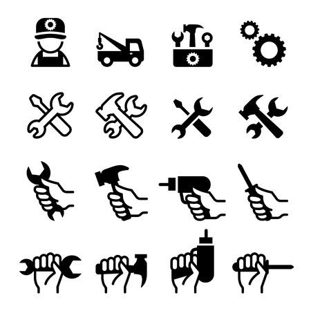 install: Tools, Repair, Fix, Setup, Maintenance, tuning, install, Configuration icons set Illustration