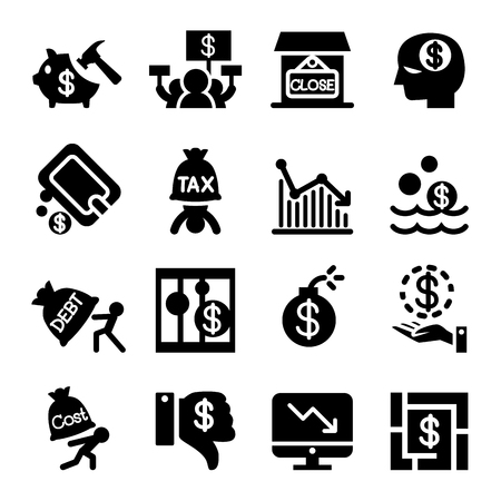 business failure: Business Crisis and business failure icon set