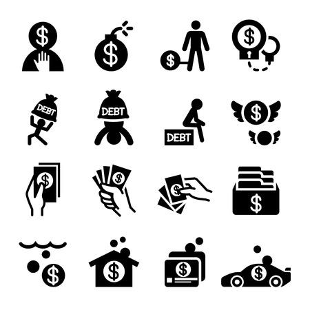 money crisis: Money Crisis & Debt icons set illustration