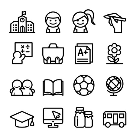 École jeu d'icônes, ligne mince icône illustration Vecteurs