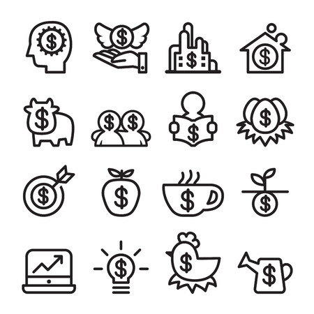 cash cow: Investment icon set , line icon vector illustration