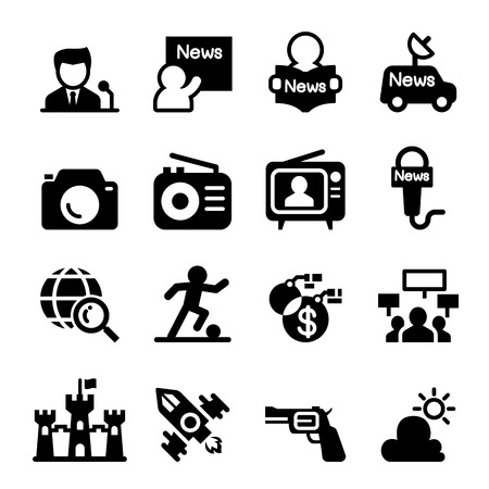 newscaster: Mass media  & news icon set