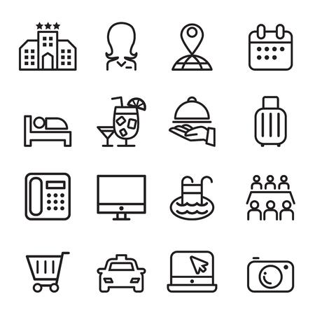 Hotel icon set in dunne lijn stijl Vector Illustratie