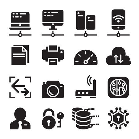 computer network: Computer network device & Data communication icon set