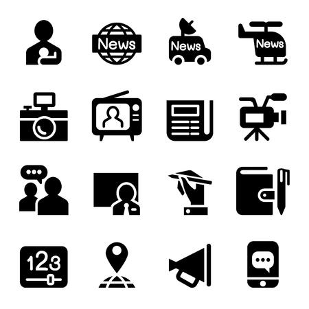 news media: News & Media Journal  icons set Illustration