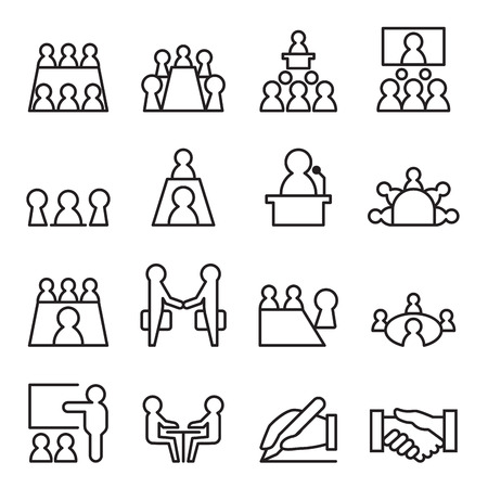 meeting icon: Conference & Meeting Icon set in thin line style