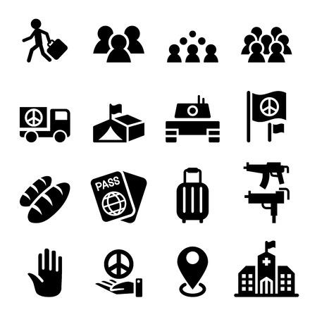 immigrant: immigration , immigrant , refugee icon set