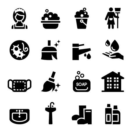 ama de llaves: ama de llaves de Limpieza de conjunto de iconos Vectores