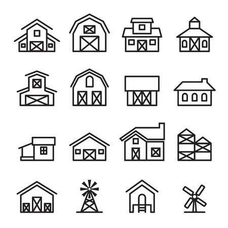 shed: barn & farm building icon in thin line style Illustration