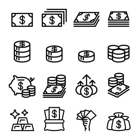 banknote: Money , Asset , property, coin , banknote , investment icon in thin line style