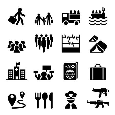evacuate: Refugee, immigrants, immigration icons set Illustration