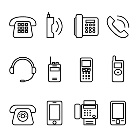 Telephone , Smar tphone , fax, mobile phone, cell phone, headset, walky talky icon set in thin line style Vectores