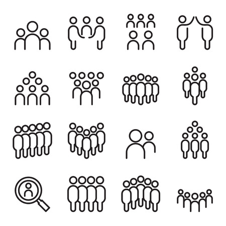 four friends: Team , people, group, human , Staff icon set in thin line style