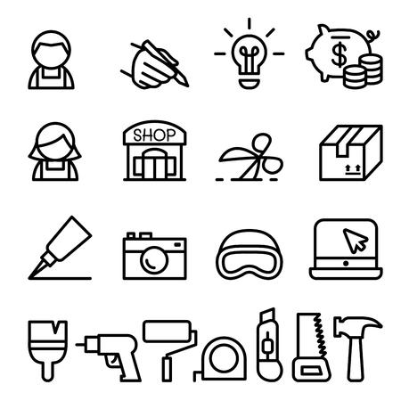 Artisan, bricolage, artisanat, produit icône du design situé dans le style de ligne mince Vecteurs