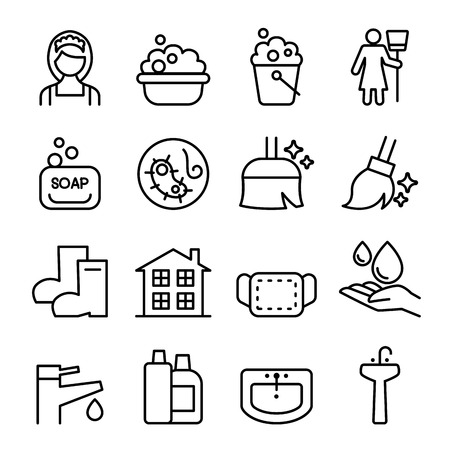wipe: Cleaning , Housekeeping , wipe, washing icon set in thin line style
