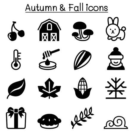 fall winter: Autumn , fall & Winter icon set
