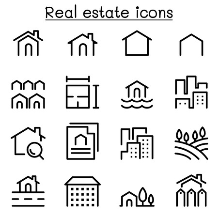 valuation: Real estate icon set in thin line style