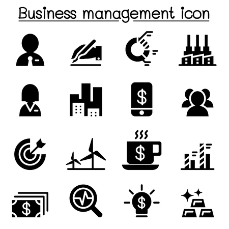Stock market , Business management icon set
