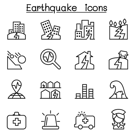 subsidence: Earthquake icon set in thin line style Illustration