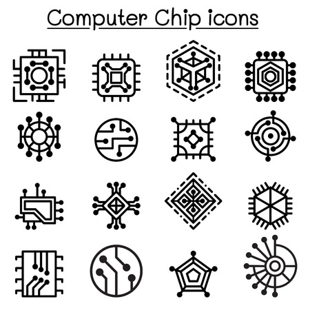 Computer Chips and Electronic Circuit icons in thin line style Vektoros illusztráció
