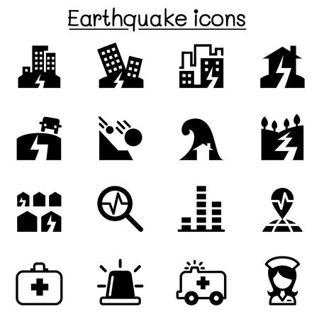 subsidence: Earthquake icon set