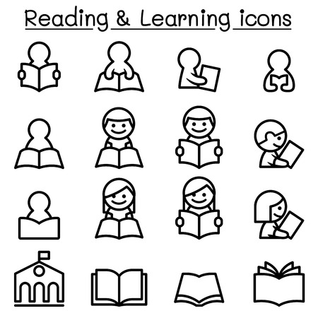 Reading , Learning , Studying icon set in thin line style