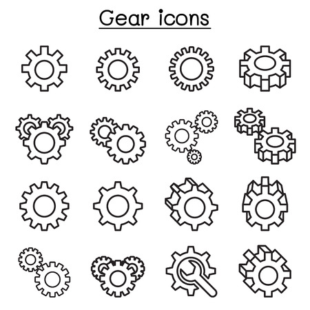 Gear & Repair icon set in thin line style Illustration
