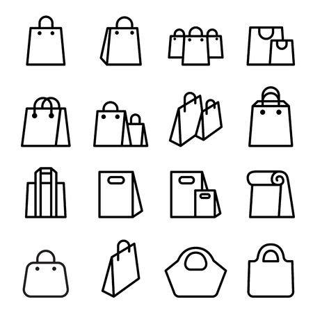 departmentstore: Bag icon set in thin line style
