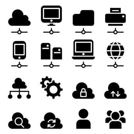 cloud technology: Cloud Computing Technology icon set