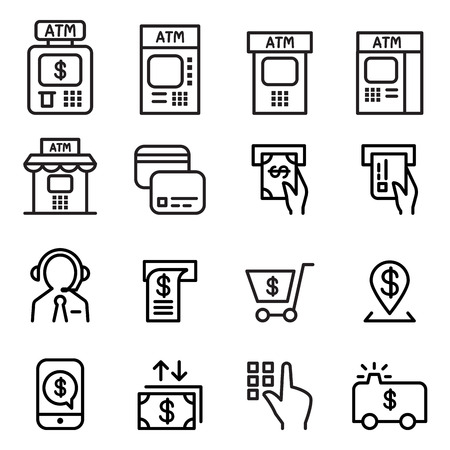 skimming: ATM icon set in thin line style Illustration