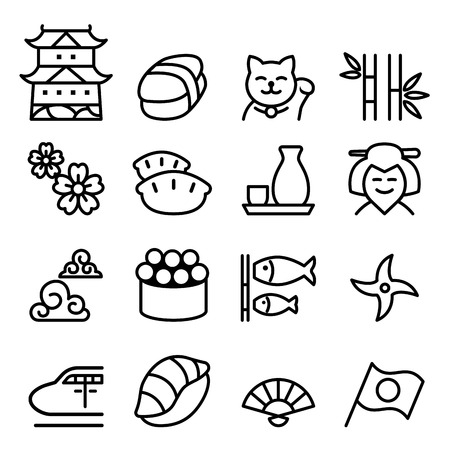 Basic japan icon set in thin line style