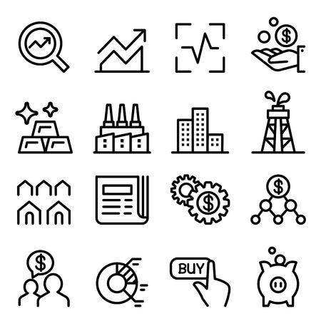 Stock market & Stock Exchange icon set in thin line style  イラスト・ベクター素材