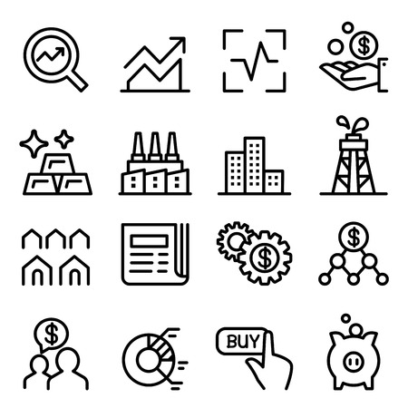 Stock market & Stock Exchange icon set in thin line style Vettoriali