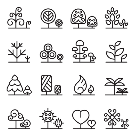 spring summer: Tree icon set in thin line style Illustration