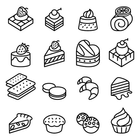 Cake, Dessert & Bakery icon set in thin line style