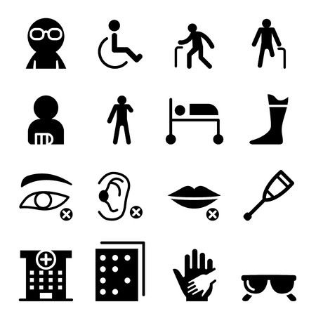 Handicap and Disabled people icon set