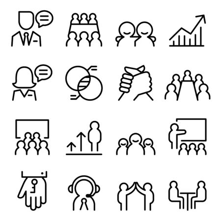 chat room: Business Consulting icon set in thin line style Illustration