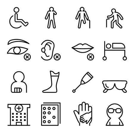 Handicap & Disabled icon set in thin line style