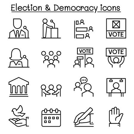 democracy: Election & Democracy icon set in thin line style