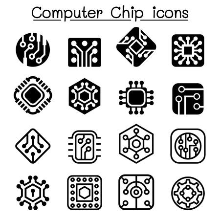 Computer Chips and Electronic Circuit icons Vektoros illusztráció