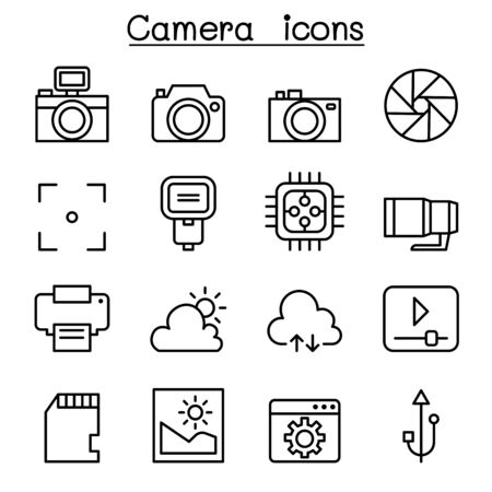 Photography icon set in thin line style Illustration