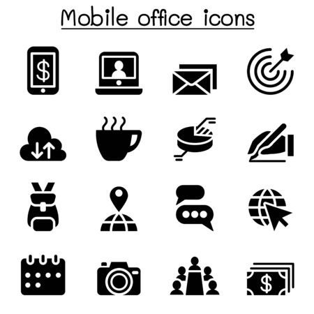 mobile office: Mobile office icon set