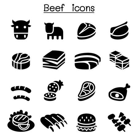 Carne, Beef conjunto de iconos Ilustración de vector