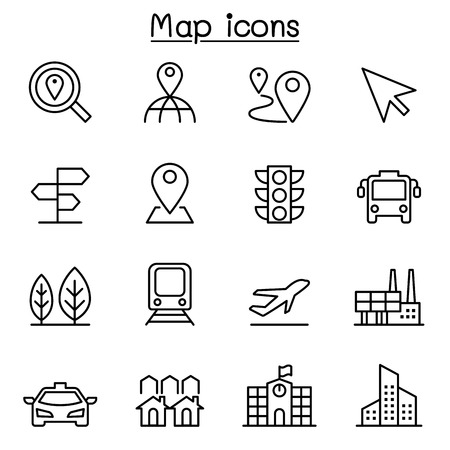 residential zone: Maps & Symbol icon set in thin line style Illustration