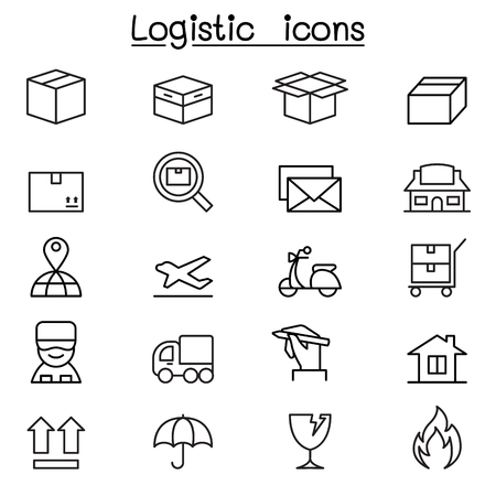 registered mail: Shipping , Logistics & Delivery icons set in thin line style Illustration