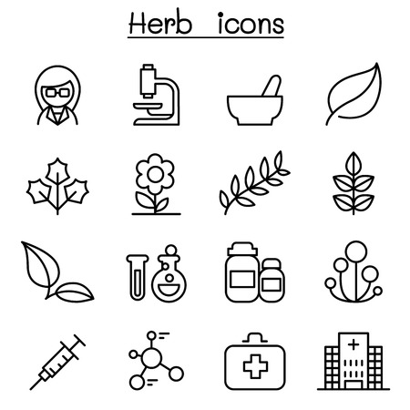 Herb icon set in thin line style